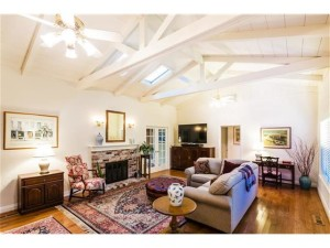 Spacious living room with vaulted ceilings.