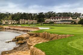 Pebble Beach Lodge and the 18th hole on a lovely day