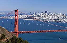 Golden Gate Bridge with the San Francisco skyline in the background.