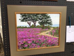 Painting of the Pacific Grove ice plant in bloom by Monika Johnson