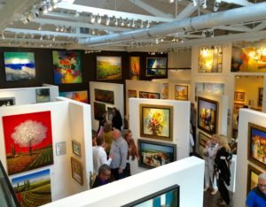 Gallery has high ceilings perfect for hanging art.