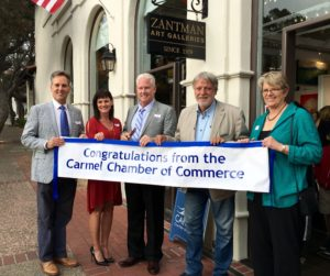 Carmel Chamber Ribbon Cutting at Zantman Art Gallery. L to R, Bret, Kimberly Yant, Bill Yant, owners, Pietro Piccoli, and Monta Potter, Carmel Chamber President and CEO